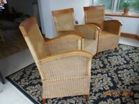 Cane weave /wood armchairs set of (3)