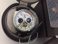 New Swiss Tag Heuer Carrera White dial Tourbillon Automatic Watch, LEATHER STRAP
