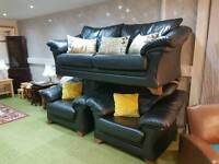 Beautiful black leather suite 3 seater sofa and 2 arm chairs