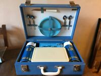 1950s blue Sirram picnic set for 4 - perfect condition