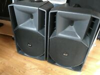 2x RCF 715 A MK2 Active 700W Speakers + Tripod Stands