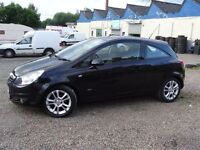 07 PLATE VAUXHALL CORSA 1.4 SXI 3 DR GLEAMING BLACK LONG MOT SERVICE HIST 4 NEW DUNLOP TYRES PX SWAP