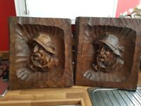 ⭐2 Vintage Sculpted wooden Belgian pictures for collection only⭐
