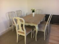 Beautiful French style dining table and 6 chairs