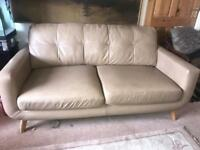 Two beige 2-3 seater leather John Lewis sofas