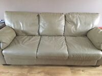 Leather three piece sofa plus pull out bed