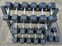 New Hex Dumbbell Set (5Kg to 30Kg in 2.5Kg increments) inc rack