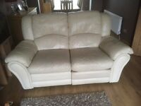 italian leather cream 2 and 3 seater sofas