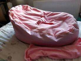 Baby bean bag chair pink