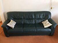 Leather 3 piece suite plus footstool