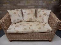Cane sofa and 2 tub chairs for conservatory