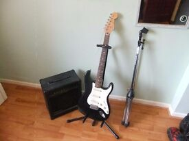 Electric Guitar & Guitar Stand & Amplifier & Microphone Stand Great Condition.