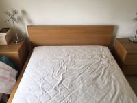 Double bed and two bedside tables