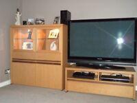 2x Light Oak Display Cabinets, TV Unit & 2x Coffee Tables