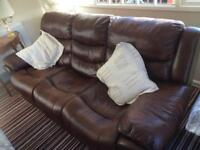 Brown leather look 3x and 2x sofa