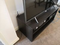 Black Ikea TV Stand with 2 shelves