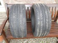 2 x used 225 40 18 maxtrek M & S tyres good 5mm overall tread, ideal for spare wheel
