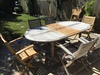 Hardwood patio table and chairs - seats six