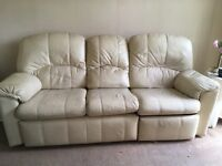 Cream leather g plan 3 piece suite