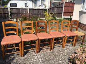 5 x Solid wood re-upholstered fabric chairs plus 1 x chair FREE(6 for £50)