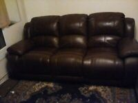 Leather recliner 3 seater. (Real leather)