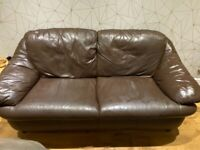 Free 2 & 3 seater brown leather sofa