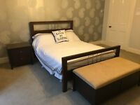 FULL BEDROOM SET inc double bed, ottoman, bedside cabinet, mirror, 7 drawer & 5 drawer units