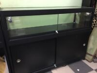 BLACK ALUMINIUM DISPLAY COUNTER CABINET WITH LARGE STORAGE AREA, LIGHTS & LOCKS