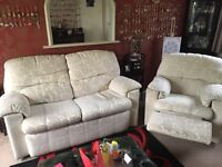 Two seater sofa and recliner