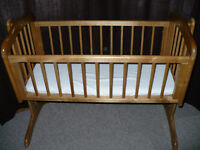 Mothercare Swinging/Rocking Crib/Cradle (Natural) with mattress. In excellent condition.