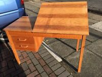 Pine office desk with unusual sloping / drawing board function