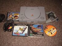 playstation 1 with games full set up