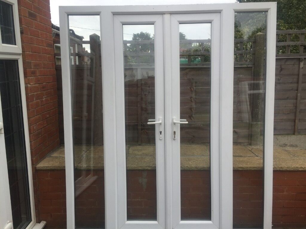 Upvc Double Glazed French Patio Doors With Side Lights 188cm Wide