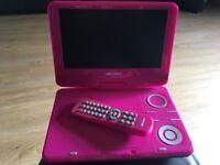 Pink portable DVD player