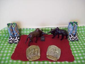 BRASS BOOK ENDS,Cowboy Boots/Steers/ Wood TOYS * SEE EACH PRICE