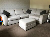 DFS Fabric Corner Sofa/Couch with Cuddle Chair & Storage Footstool