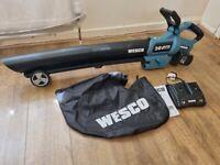 WESCO 36V (2 x 18V 4,0Ah battery) 2 in 1 Cordless Garden Vacuum & Leaf Blower