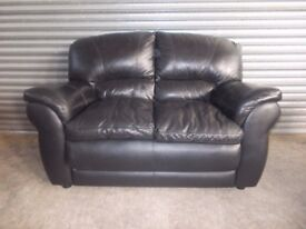 Black Leather 2-seater Sofa (Suite) with matching Armchair