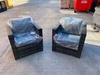 Grey Garden Rattan Chairs x 2 brand new with cushions selling at £175