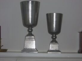 Pair of large silver vases
