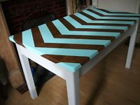 Vintage school desk restored with a modern deco style - Solid Wood - Chevron Stripes - Delivery