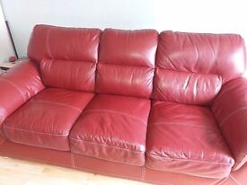 Leather 3 seater sofa dark red excellent condition