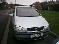 VAUXHALL ZAFIRA ELIGANCE 16V. AUTOMATIC IN SILVER,2002 REG 1.8 PETROL,7 SEATS.MOT 9 MONTHS..