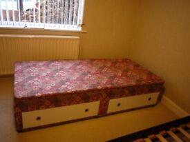 3' Single Divan Sprung Bed Base