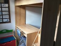 Superb beech high bed with steps, desk and shelving. Robust and in excellent condition.