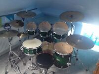 Mapex M Series 6pc Drum Kit in Forest Green with cymbals and hardware