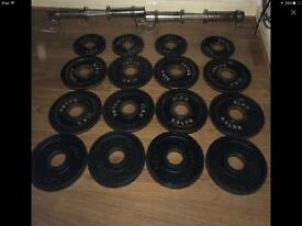 Olympic dumbells and weight plates