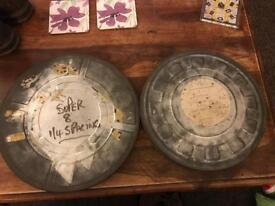 2x Vintage Cine Film Reel Tins-Kodak Ltd London Cine12x1'' & Unbranded10.5x1.5''