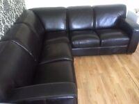 Black Real Leather 5 seats Corner Sofa