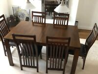 Beautiful expandable dark brown dining table set with 6 chairs